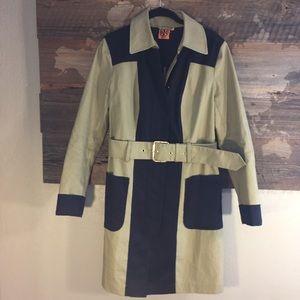 Tory Burch Elmwood Trench Coat, Size 6, Tan/Blue